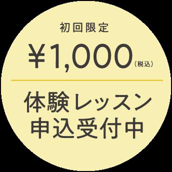 初回限定1000円 体験レッスン申込み受付中