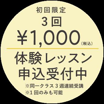 初回限定3回1000円 体験レッスン申込み受付中